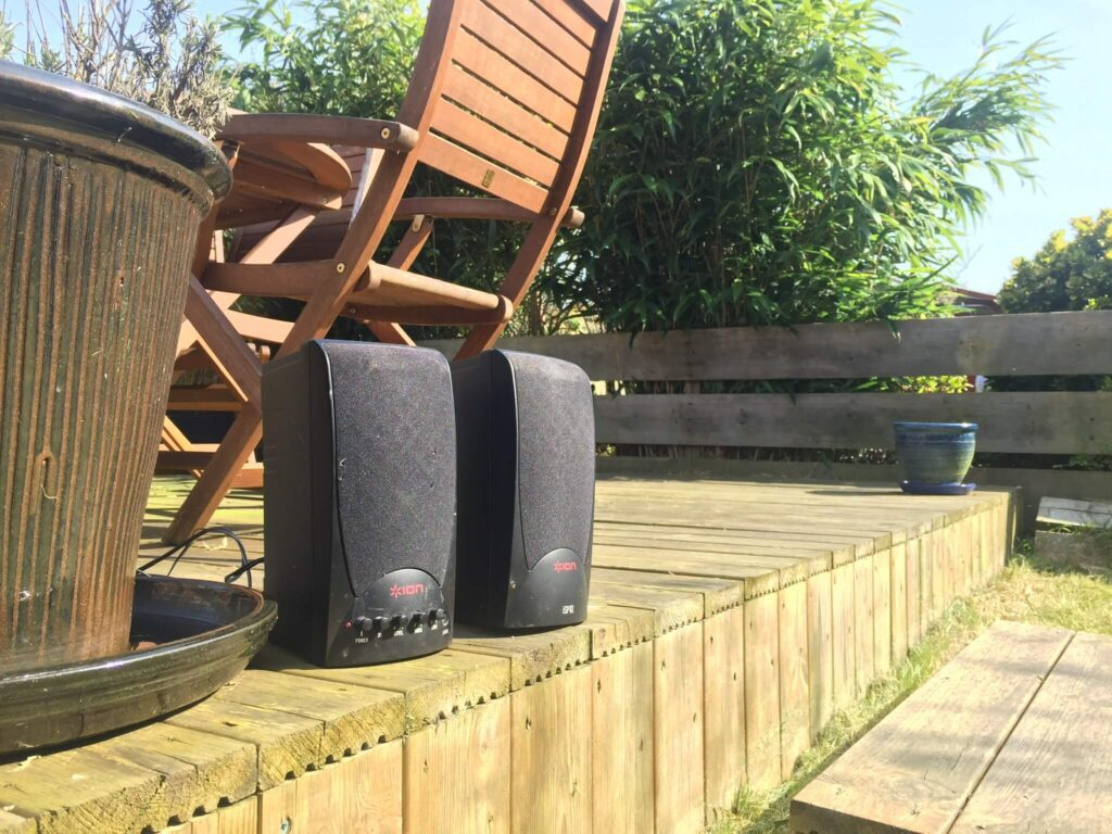 speakers in the garden