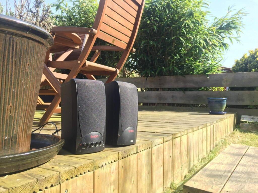 speakers in the garden