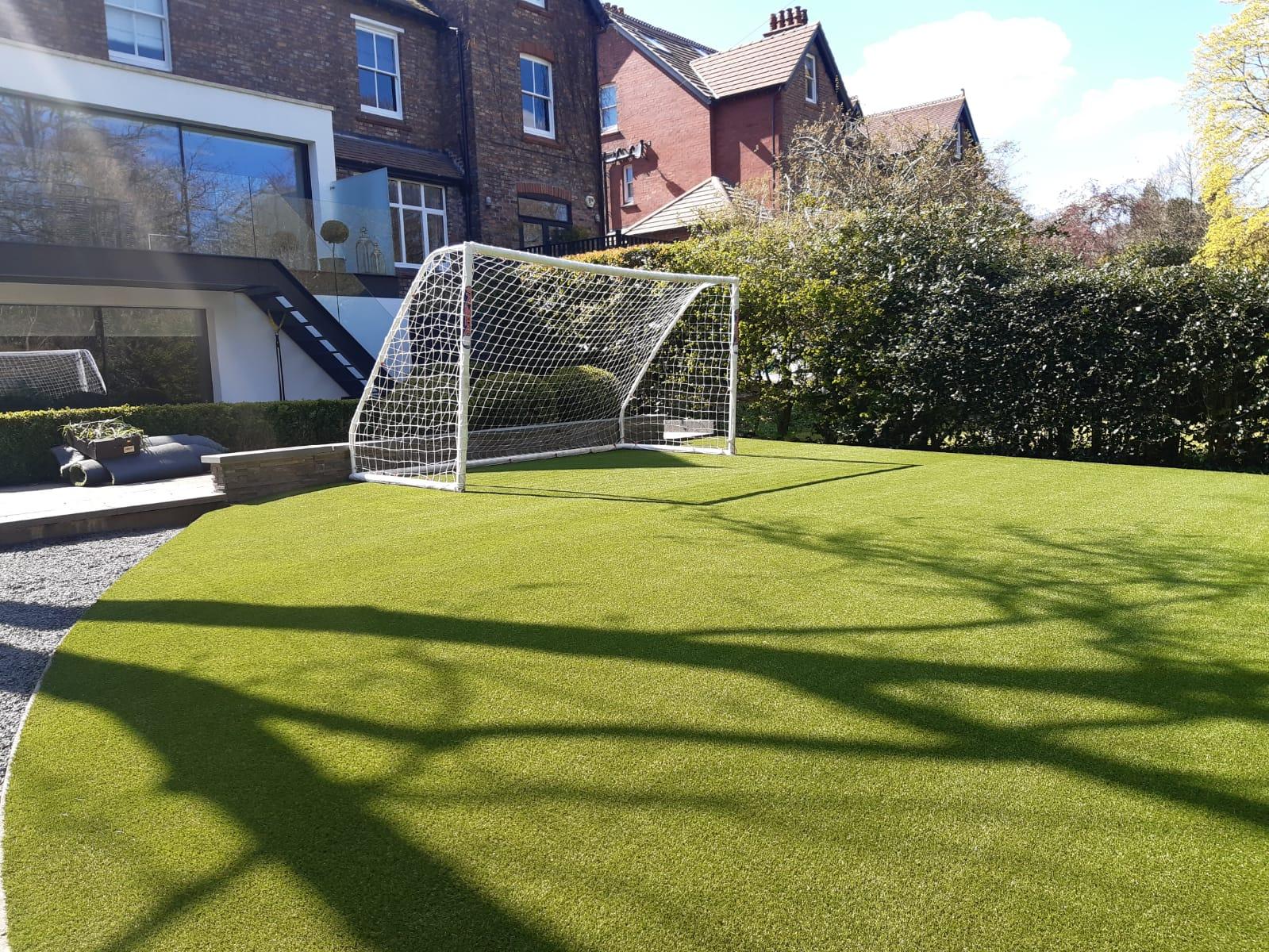 Football garden with artificial grass.