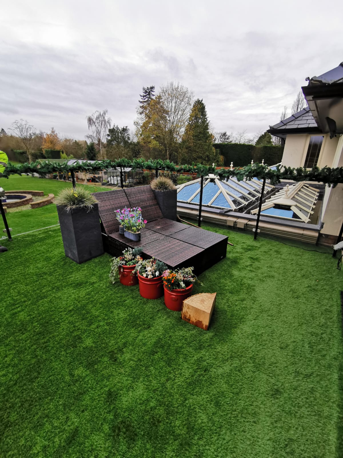Balcony covered with artificial grass.